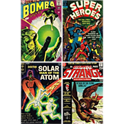 1967 Super Heroes Comic, No. 3, 1968 Bomba Comic, No. 6, 1969 Doctor Solar Comic, No. 27, & 19