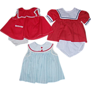 "Three Pretty Doll Dresses for 16"" Tall and Up Dolls"