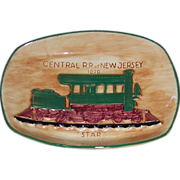 """1950's Central R.R. of New Jersey 1870 """"Star"""" Wall Plaque Pennsbury Pottery"""