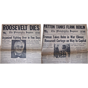 Two 1945 Newspapers, The Death of President Franklin D. Roosevelt, dated April 13th & 14th