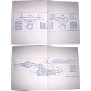 1975 Set of 12 Blue Prints of the Starship Enterprise, Second Edition