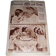 1937 Dionne Quintuplet Third Birthday Party Supplement Newspaper