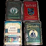 Four Vintage Tobacco Tins, Tuxedo, Bond Street, & Velvet Tobacco Tins