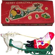 Occupied Japan Wind-Up Santa Claus on Sled