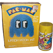 SOLD 1980 Pac-Man Thermos Bottle and Latch Hook Kit