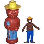 1967 Smokey Bear Bendy and 1960's Smokey Bear Soaky