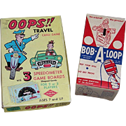 1958 Bob-A-Loop Skill Game and 1960's Oops!! Travel Card Game