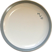 New York Central Railroad Gray Pacemaker China Dinner Plate