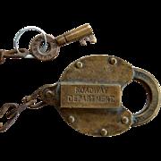 New York New Haven & Hartford Railroad ROADWAY DEPARTMENT Brass Lock & Key Set