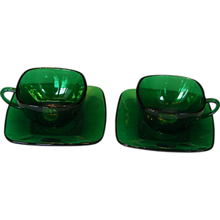 """SALE TWO 1950s Forest Green """"Charm"""" Coffee Cup & Saucer Sets with ORIGINAL LABELS by Anchor Hocking"""