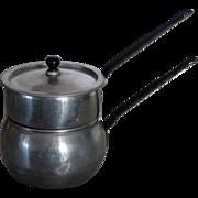 Vintage 1940s-1950s Tin Miniature Toy Kitchenware Double Boiler w/Lid - 3 Pieces