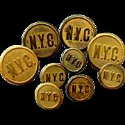 9 Brass New York Central Railroad Uniform Buttons