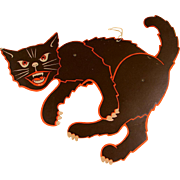 """SOLD Scary """"Scat Cat"""" Halloween Jointed Hanging Black Cat Die-Cut Decoration"""