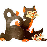 TWO Large Halloween Die-Cut Black Cat Stand-Up Decorations Early 1900s