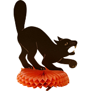 SOLD Large Scary Halloween Cat Die-Cut on Honeycomb Crepe Paper Pillow c.1920s Beistle Company