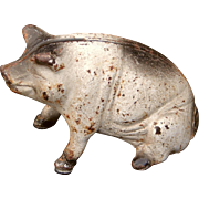 SALE Early 1900s Cast Iron Pig Still Bank Cute and Different