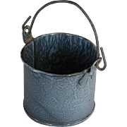 SALE Adorable Little Gray Graniteware Enamel Berry Pail with Bail Handle