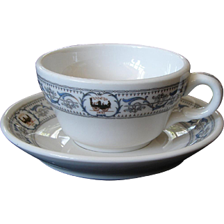 4 AVAILABLE: New York Central Railroad DeWitt Clinton China Cup & Saucer Set