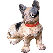 Early Hubley Cast Iron French Bulldog Paper Weight in Original Paint