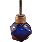 Sweet Cobalt Blue Glass Victorian Jeweler's Torch / Wax Seal Lamp
