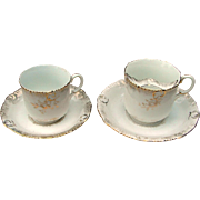 "Antique ""Mr & Mrs"" Gentleman's Mustache Cup & Lady's Tea Cup China Set"