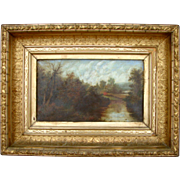 SOLD Endearing 1870s Streamscape Oil on Canvas Painting in Original Heavy Gilt Frame