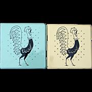 """SALE Pair 1950s Frigidaire """"Pot Roosters"""" Porcelain Trivet Tiles"""