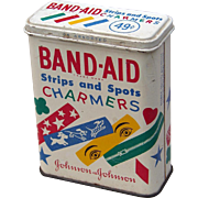 "SALE Vintage 1950s Tin BAND-AID ""Charmers"" Adhesive Strips Metal Box ~ FREE USA Post"