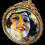 SOLD Art Nouveau Mucha Lady Large Jeweled Frame