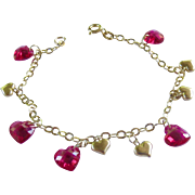 10K Gold and Ruby Crystal Heart Charm Bracelet - 7 inches