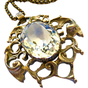 Antique Silver Rock Quartz Crystal Pendant and Chain