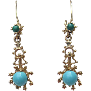 SOLD 14k Gold Turquoise Halley's Comet Constellation Star Earrings