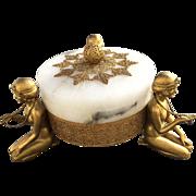 Rare Art Deco German Alabaster Gilded Filigree 3 Nudes Covered Dish - Egyptian Revival - ...