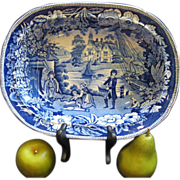 c1830 RARE FISHERMANS HUT PATTERN Blue & White Staffordshire Vegetable Bowl