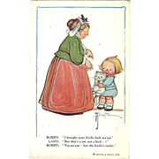 "1913 Too Cute Postcard Grace Drayton Cat Eats Bird, ""Brought Your Birdie Back"""