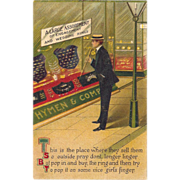 c1910 BB London Series Postcard Man At Jewelers Window Shopping For Engagement Rings