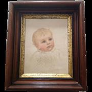 Lovely Victorian Eastlake Era Frame with Gilt Liner Ida Waugh Baby Litho