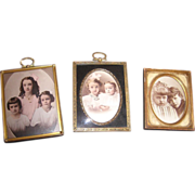 Beautiful trio of Antique Frames, Brass, Convex glass & Gilt wood, Hand Tinted Portraits of ..