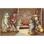SALE c1910 Maurice Boulanger Tucks Humorous Cats Postcard, Fun By The Fire!