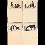 SALE Set of 15 C1910 German Postcards Silhouettes Of Children, Animals Etc. signed CARUS, ...