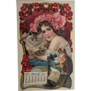 Rare 17 x 10 1900 Calendar Cats & Telephone Art Nouveau Color Litho Girl Embossed Advertising