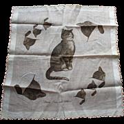 SOLD Vintage CHESAPEAKE & OHIO LINES Advertising handkerchief w/playful kittens w/business car