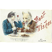 SALE Scarce German C1906 Postcard Dressed Dog & Dressed cat Toast Each Other at Table, Wine ..