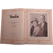 "Scarce 1928 Souvenir Program ""SIMBA"" Silent Film Martin Johnson African Expedition"