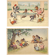 2 Vintage Belgium Postcards, Cute Cats Playing Table Tennis & Tug Of War