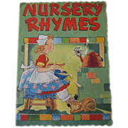 1941 NURSERY RHYMES Mary Alice Stoddard, Cute Linen Like Book