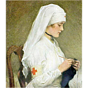 SOLD Vintage Red Cross Nurse Print Nicolet 1918 Pharmacy Calender Parma Idaho