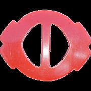 SOLD Old 1940s RED Bakelite Belt Buckle Slide for Scarves Sewing Notion