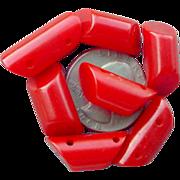 SOLD 1930s Vintage Red Bakelite Buttons Carved Diagonal Barrels Sewing Notion - Red Tag Sale I