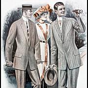 Antique Advertising 1913 Men's Suits Catalog Page Horse Races Huge Print